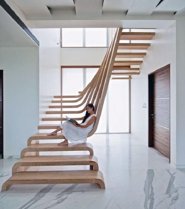 Escadas de Madeira -  20 Ideias Para Inspiração-14