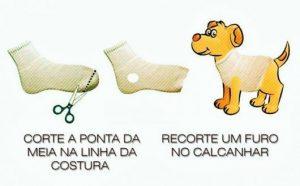 Como fazer roupa para cachorro usando uma meia