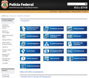 Veja as abas destinadas à solicitação do passaporte do site da PF