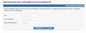 Página de agendamento do atendimento no posto da PF passaporte